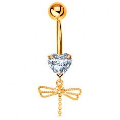 Zlatý 585 piercing do pupíku - čiré srdíčko, visící vážka s ohebným ocáskem