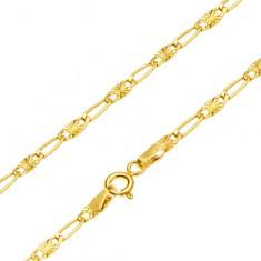 Řetízek ve žlutém 14K zlatě - dlouhé očko, článek s paprskovitým rýhováním, 440 mm