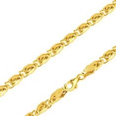 Řetízek ve žlutém 14K zlatě - články s esíčkovým motivem, 490 mm