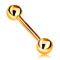 Zlatý 14K piercing - lesklý barbell se dvěma lesklými kuličkami, žluté zlato, 12 mm