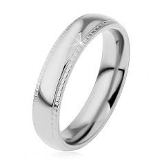 Prsten z oceli 316L, stříbrný odstín, lesklý střed a vroubkované okraje