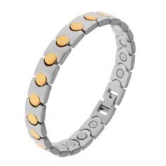 Dvoubarevný náramek z chirurgické oceli, kruhy ve zlatém odstínu, magnety