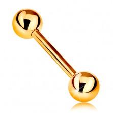 Zlatý 9K piercing - lesklý barbell se dvěma lesklými kuličkami, žluté zlato, 12 mm