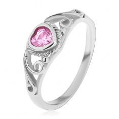 Dětský prsten z oceli 316L, růžové zirkonové srdíčko, rozdělená ramena s ornamenty