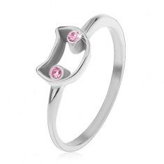 Ocelový prsten pro děti, úzká ramena, kontura kočky se světle růžovýma očima