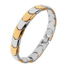 Lesklý ocelový náramek, články Y ve zlatém a stříbrném odstínu