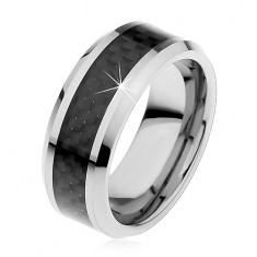 Wolframový prstýnek stříbrné barvy, středový pás z černých vláken, 8 mm