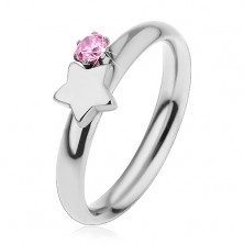 Dětský prsten z chirurgické oceli, stříbrná barva, hvězda a růžový zirkon