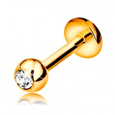 Piercing ve žlutém 9K zlatě - do rtu, brady a nad ret, kulička se zirkonem, 6 mm