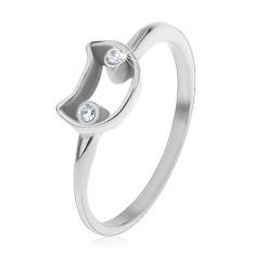 Prsten pro děti, ocel 316L, úzká ramena, kontura kočky s čirýma očima