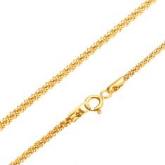 Řetízek ze žlutého 14K zlata, strukturovaný hadí vzor, kruhový průřez, 450 mm