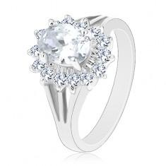 Prsten s rozdělenými rameny, oválný zirkonový květ čiré barvy