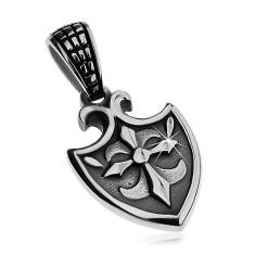 Přívěsek z chirurgické oceli stříbrné barvy - erb se symbolem Fleur de Lis