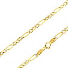 Zlatý řetízek 585 - tři očka a jedno podlouhlé, rýhy v bílém zlatě, 540 mm