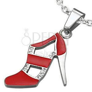 Přívěsek z oceli - taneční botka, červená