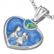 Ocelový přívěsek - srdce glazura modrá