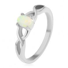 Ocelový prsten stříbrné barvy, oválný syntetický opál, překřížená ramena H4.18