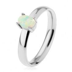 Prsten z oceli 316L ve stříbrném odstínu, oválný syntetický opál v kotlíku H4.19