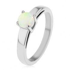 Prsten z chirurgické oceli, stříbrný odstín, kulatý syntetický opál v kotlíku H5.01