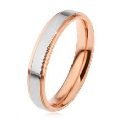 Lesklý ocelový prsten, vyvýšený pás stříbrné barvy a měděné okraje, 4 mm