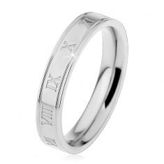 Prsten z chirurgické oceli, gravírované římské číslice, podélné zářezy, 4 mm