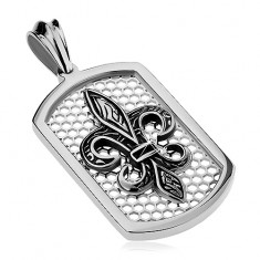 Ocelový přívěsek stříbrné barvy, obdélníková známka s pletivem a Fleur de Lis