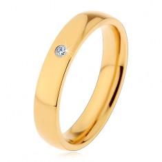 Prsten z oceli 316L ve zlatém odstínu, zrcadlový lesk, vsazený čirý zirkon, 4 mm