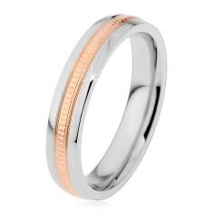 Dvoubarevný prsten z oceli 316L, vroubkovaný pás, hladké okraje, 4 mm