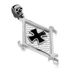 Přívěsek z chirurgické oceli, velký kosočtverec, černý maltézský kříž a lebka AB26.11
