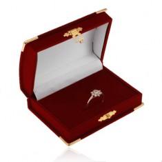 Sametová bordó krabička na set - truhlička, detaily ve zlaté barvě