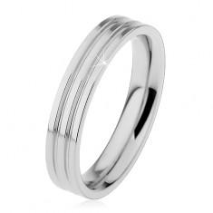 Lesklý prsten z oceli 316L stříbrné barvy, dva podélné zářezy, 4 mm