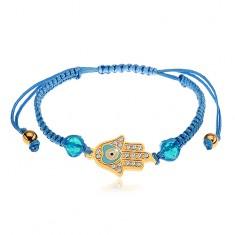 Nastavitelný náramek na ruku z modrých šňůrek, symbol Hamsa, čiré zirkony