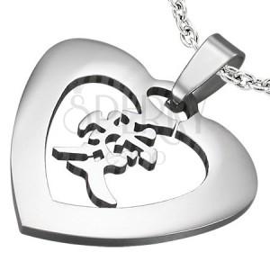 Ocelový přívěsek srdce s čínským znakem