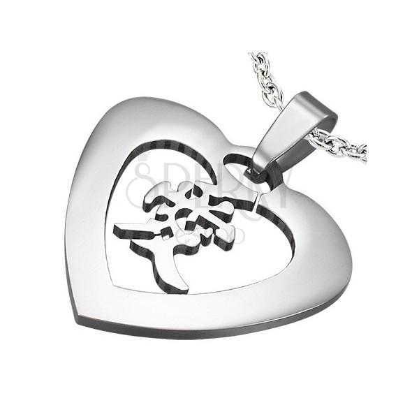 """Ocelový přívěsek stříbrné barvy - srdce s čínským znakem """"láska"""""""