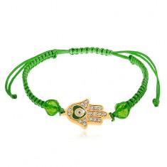 Šňůrkový náramek zelené barvy, Fatimina ruka, čiré zirkony, korálky