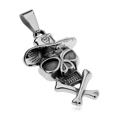 Přívěsek z oceli 316L, lebka s kloboukem a překříženými kostmi, patina
