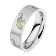 Ocelový prsten s matným povrchem a motivem se slony, 6 mm