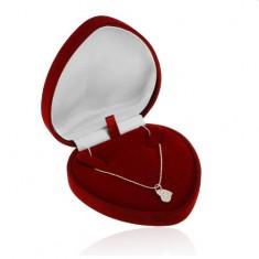 Dárková krabička - bordó sametové srdce na řetízek nebo náhrdelník