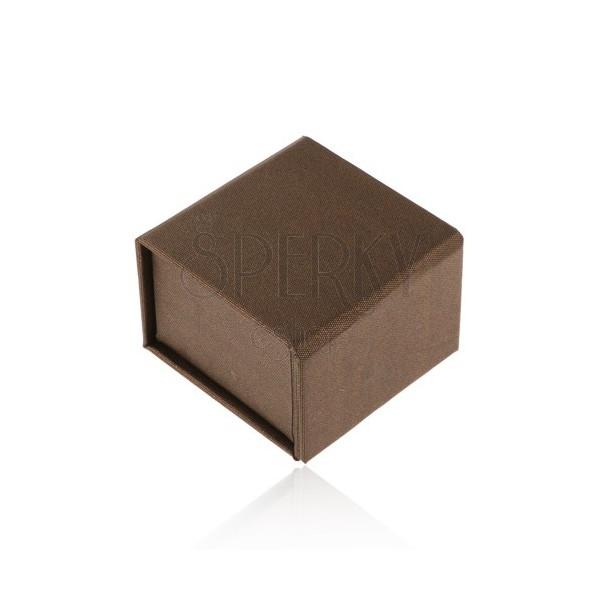 Dárková krabička na prsten nebo náušnice, hnědá s perleťovým leskem, magnet