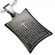 Ocelový přívěsek modlitba a kříž