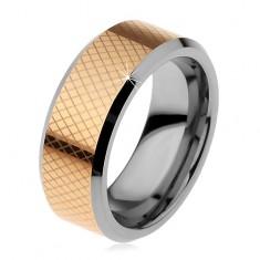 ff35abb13 Dvoubarevný wolframový prsten, drobné kosočtverce, zkosené okraje, 8 mm