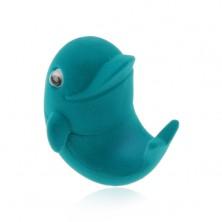 Sametová krabička na prsten nebo náušnice, modrý delfín, pohyblivá očka