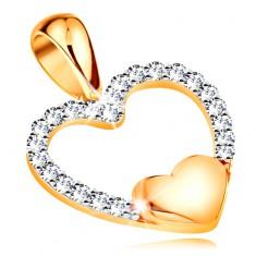 Zlatý 14K přívěsek - obrys srdce ze zirkonů, malé plné srdíčko ve spodní části GG194.61
