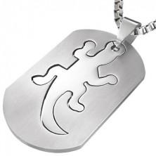 Ocelový přívěsek známka - ještěrka