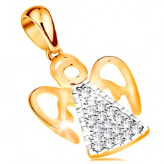 Dvoubarevný přívěsek ze 14K zlata - anděl s vyřezávanými křídly, čiré zirkonky GG195.11