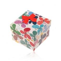 Dárková krabička na prsten nebo náušnice, barevní motýli s ornamenty Y07.05