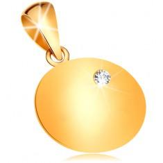 Zlatý přívěsek 585 - lesklá plochá kruhová známka se vsazeným čirým diamantem BT188.56