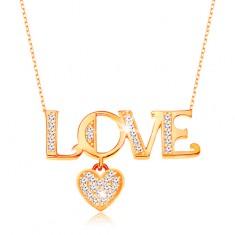 Blýskavý zlatý náhrdelník 375 - řetízek z oválných oček, nápis LOVE a srdíčko GG194.48