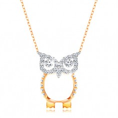 Zlatý 9K náhrdelník - řetízek z oválných oček, sova zdobená čirými zirkonky GG194.35