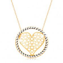 Zlatý náhrdelník 375 - řetízek z oválných oček, vyřezávané srdce v kruhu